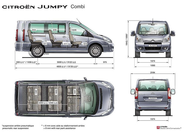 Citroen Jumpy (8+1) car hire (dimentions) from  Val & Kar Rent a car